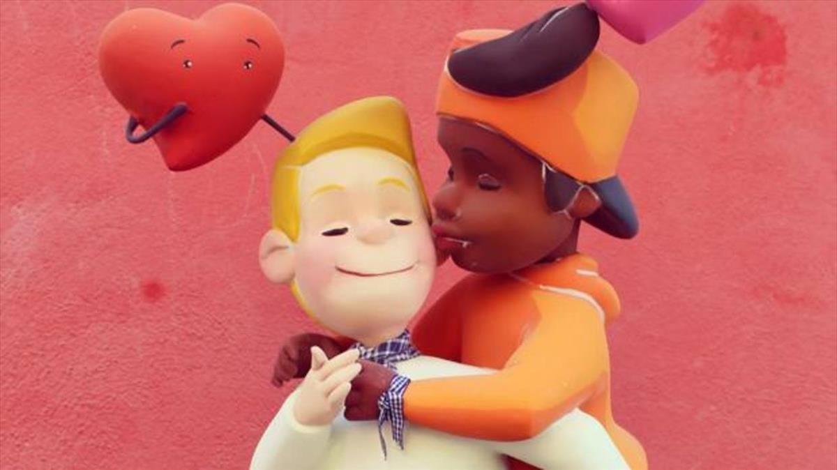 La escena en la que aparecían dos chicos besándose en la mejilla y rodeados de corazones, antes de ser destrozada.