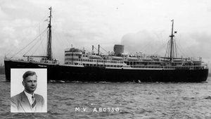 El escritor Ulrich Alexander Boschwitz y el buque 'Abosso', donde murió tras ser torpedeado por los alemanes en 1942.