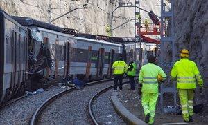 Estado en el que quedaron los trenes tras el choque en Castellgalí, en febrero pasado.