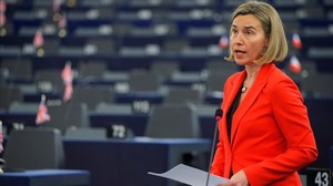 Federica Mogherini se dirige al Parlamento Europeo.