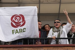 Former commander of Colombia s Marxist Revolutionary Alternative Force of the Common FARC Jesus Santrich greets people from the balcony of FARC s headquarters in Bogota Colombia May 30 2019 REUTERS Andres Torres Galeano NO RESALES NO ARCHIVES