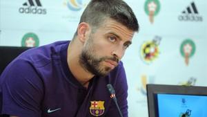 Gerard Piqué, durante la rueda de prensa de este sábado en Sant Joan Despí.