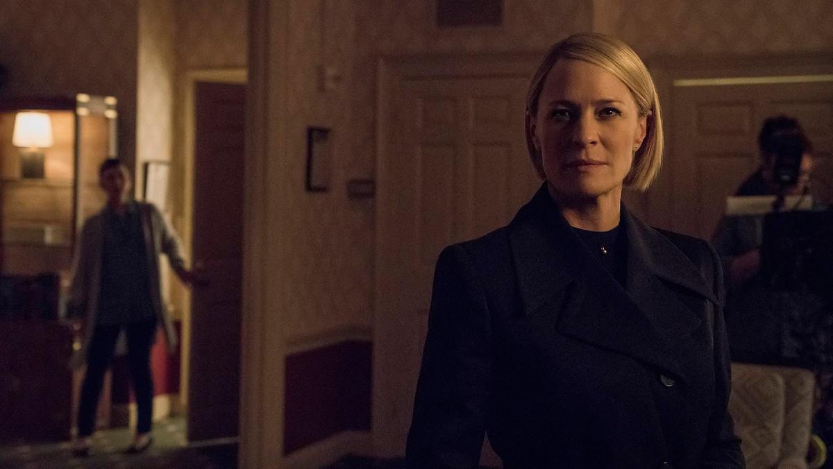 La actriz Robin Wright, en elrodaje de la sexta y última temporada de la serie de Netflix House of cards.