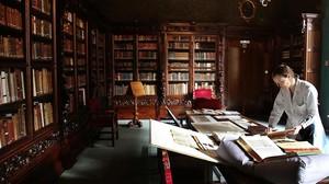 Una de las salas nobles del Arxiu Històric de la Ciutat de Barcelona, en la Casa de lArdiaca.