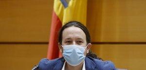 Pablo Iglesias se dispone a comparecer ante la Comisión de Derechos Sociales del Senado, este jueves, en Madrid.