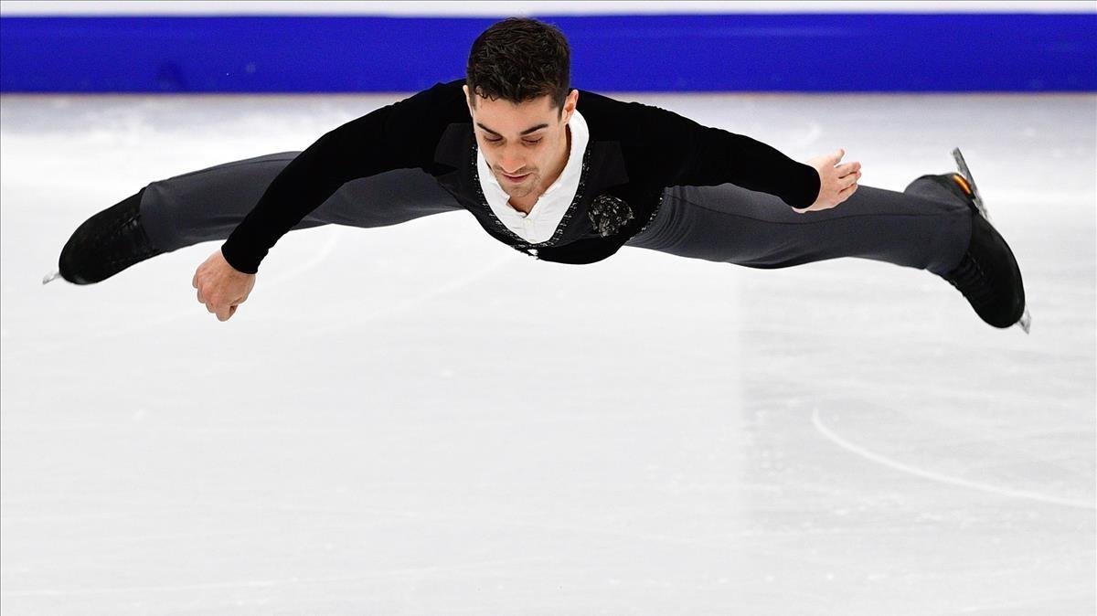 Javier Fernández, durante su actuación en el Mundial que ganó en Moscú en enero.
