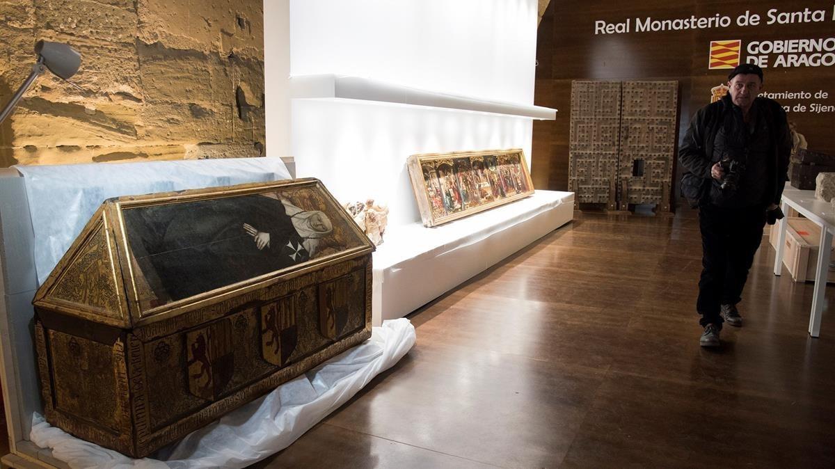 Las obras exhibidas en el Monasterio de Sijena.