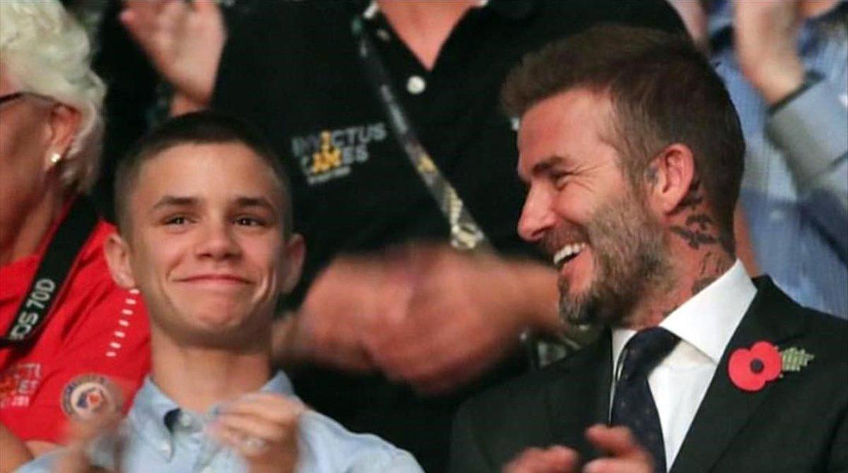 David Beckham y su hijo Romeo.