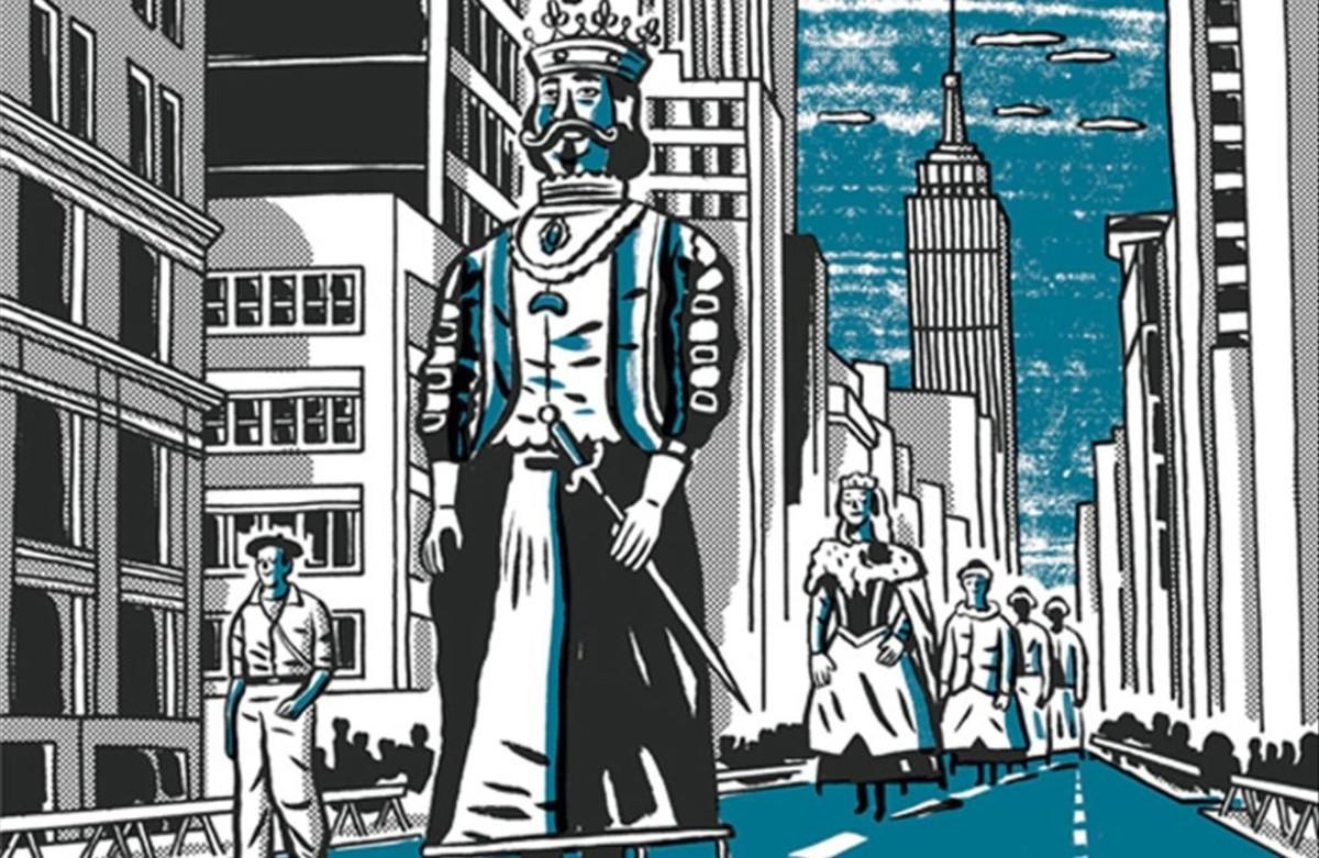 Los gigantes de la comparsa pamplonica en Nueva York, en una viñeta de 'Black is Beltza', del cómic homónimo de Fermin Muguruza, sobre el que el músico y cineasta inaugura una exposición en el Arts Santa Mònica.