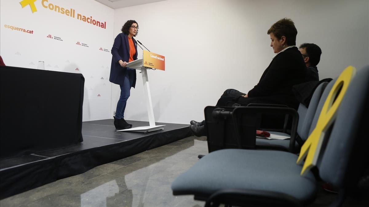 La secretaria general de ERC, Marta Rovira, interviene ante el consejo nacional del partido