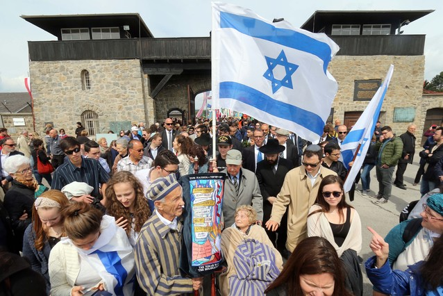 Miembros de la delegación israelí en el acto de homenaje.