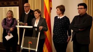 Simona Barrufet, Lluís Corominas, Carme Forcadell, Anna Simó y Joan Josep Nuet, en 2017.