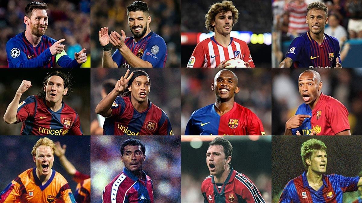 Messi, Suárez, Griezmann, Neymar (2019); Messi, Ronaldinho, Etoo, Henry (2007); Koeman, Romário, Stoichkov y Laudrup (1993).