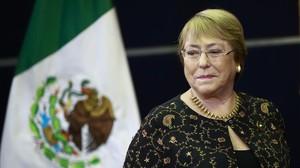 Michelle Bachelet durante una ponencia magistral de Derechos Humanos.