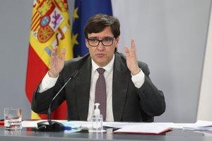 El ministro de Sanidad, Salvador Illa, durante la rueda de prensa posterior al Consejo de Ministros de este 9 de octubre en la Moncloa.