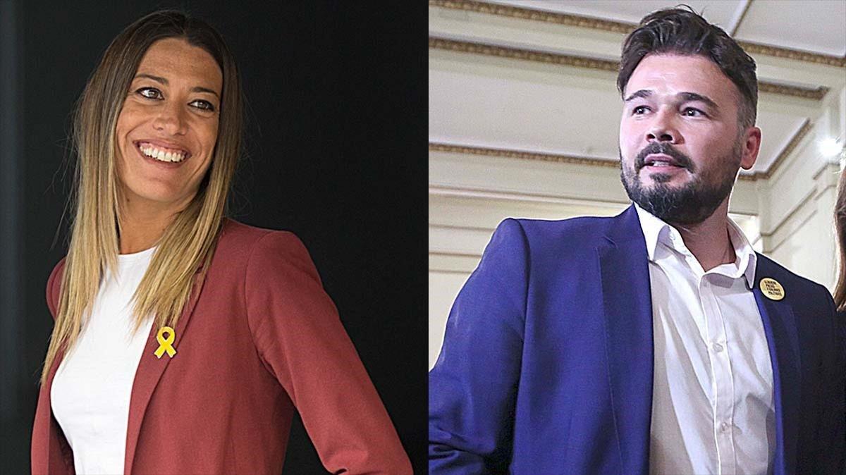 Míriam Nogueras (PDECat) y Gabriel Rufián (ERC).