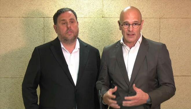 Oriol Junqueras y Raül Romeva en una entrevista en Lledoners.