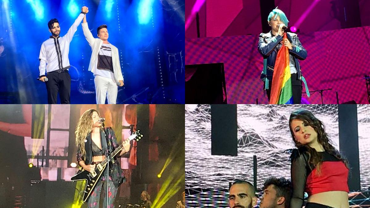 Agoney, Raoul, Marina, Miriam y Thalía en el concierto 'OT Bernabéu'.