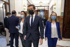 Moción de Censura en el Congreso de los Diputados , de VOXcontra el Gobierno de Coalicion Psoe - Podemos , en la imagen Pabo Casado.