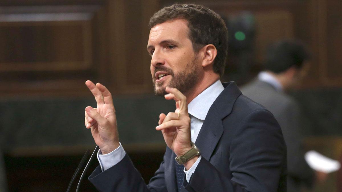 Pablo Casado, en el Congreso, esta mañana.