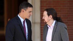 Pedro Sánchez y Pablo Iglesias, en un encuentro en Moncloa.