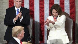 Pelosi y Trump en el Congreso en febrero de este año.