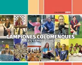 Portada del 'Calendari de les dones 2015' dedicado a las deportistas colomenses.