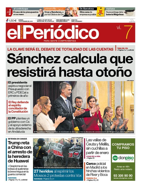 La portada de EL PERIÓDICO del 7 de diciembre del 2018
