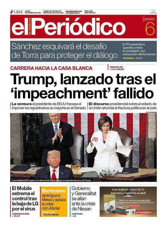La portada de EL PERIÓDICO del 6 de febrero del 2020.