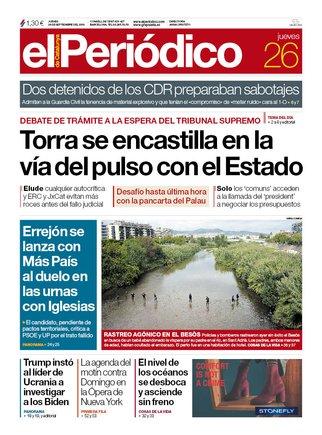 La portada de EL PERIÓDICO del 26 de septiembre del 2019.