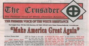 Portada de la publicación del Ku Klux Klan que apoya a Trump.