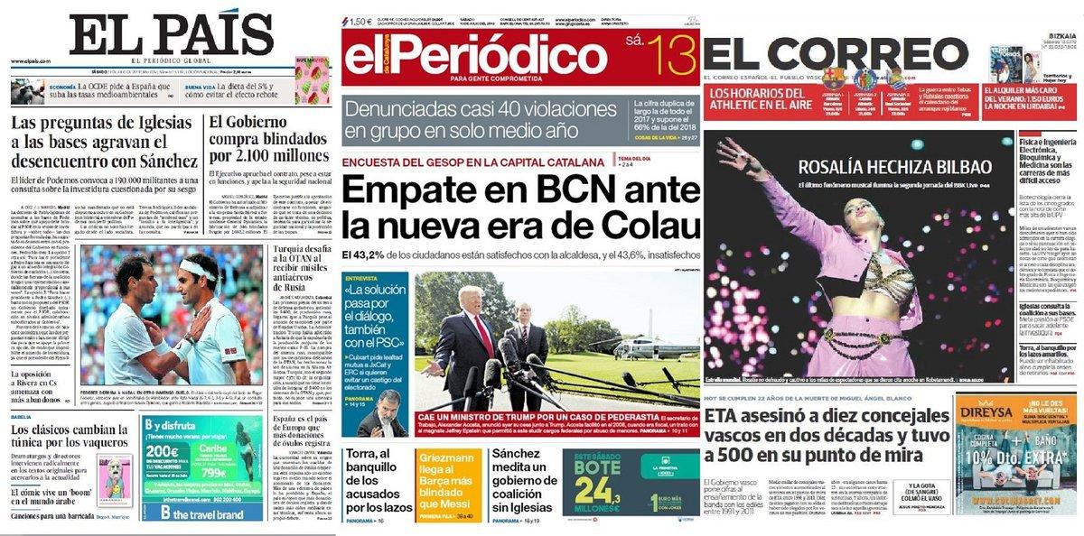 Prensa de hoy: Las portadas de los periódicos del sábado 13 de julio del 2019