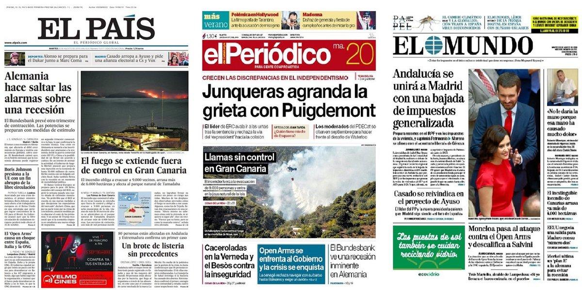 Prensa de hoy: Las portadas de los periódicos del martes 20 de agosto del 2019