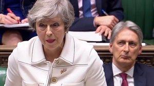 Laprimera ministra británica, Theresa May, durante su declaración en la Cámara de los Comunes.