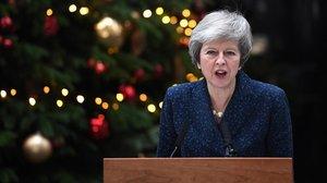 La primera ministra británica, Theresa May, durante una declaración en su residencia, en el 10 de Downing Street.