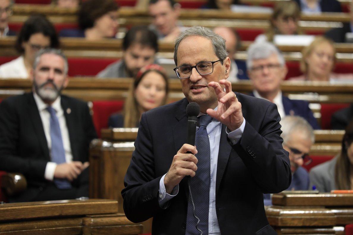 Quim Torra, en un momento de su intervención en la sesión de control del Parlament.