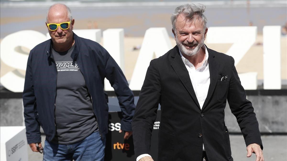 Roger Mitchell (izquierda) y Sam Neill, tras presentar 'Blackbird' en San Sebastián