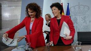 Rueda de prensa posterior al Consejo de Ministros en la que participan Las Ministras Isabel Celaa, María Jesús Montero y Nadia Calviño.