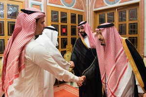 In this photo released by Saudi Press Agency SPA Saudi King Salman right and Crown Prince Mohammed bin Salman second right receive Sahel a family member and Salah a son of Jamal Khashoggi in Riyadh Saudi Arabia Tuesday Oct 23 2018 Saudi Arabia which for weeks maintained that Jamal Khashoggi had left the Istanbul consulate on Saturday acknowledged he was killed there in a fistfight Saudi Press Agency via AP