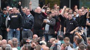 Simpatizantes de extrema derecha se manifiestan en la ciudad alemana de Chemnitz, en el 2018.