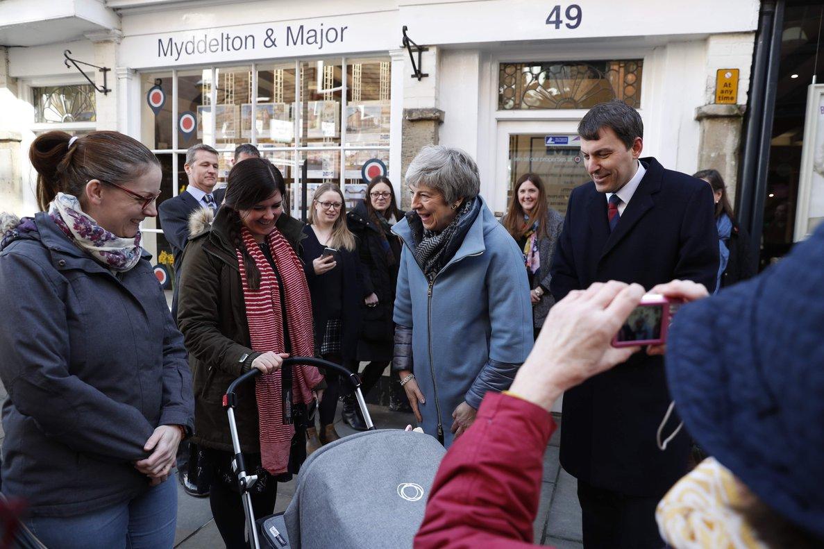La primera ministra británica, Theresa May, en la ciudad deSalisbury.