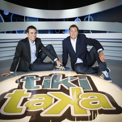 Felipe del Campo y Enrique Marqués, conductores del programa deportivo de Cuatro Tiki Taka, que este sábado llega a su fin.