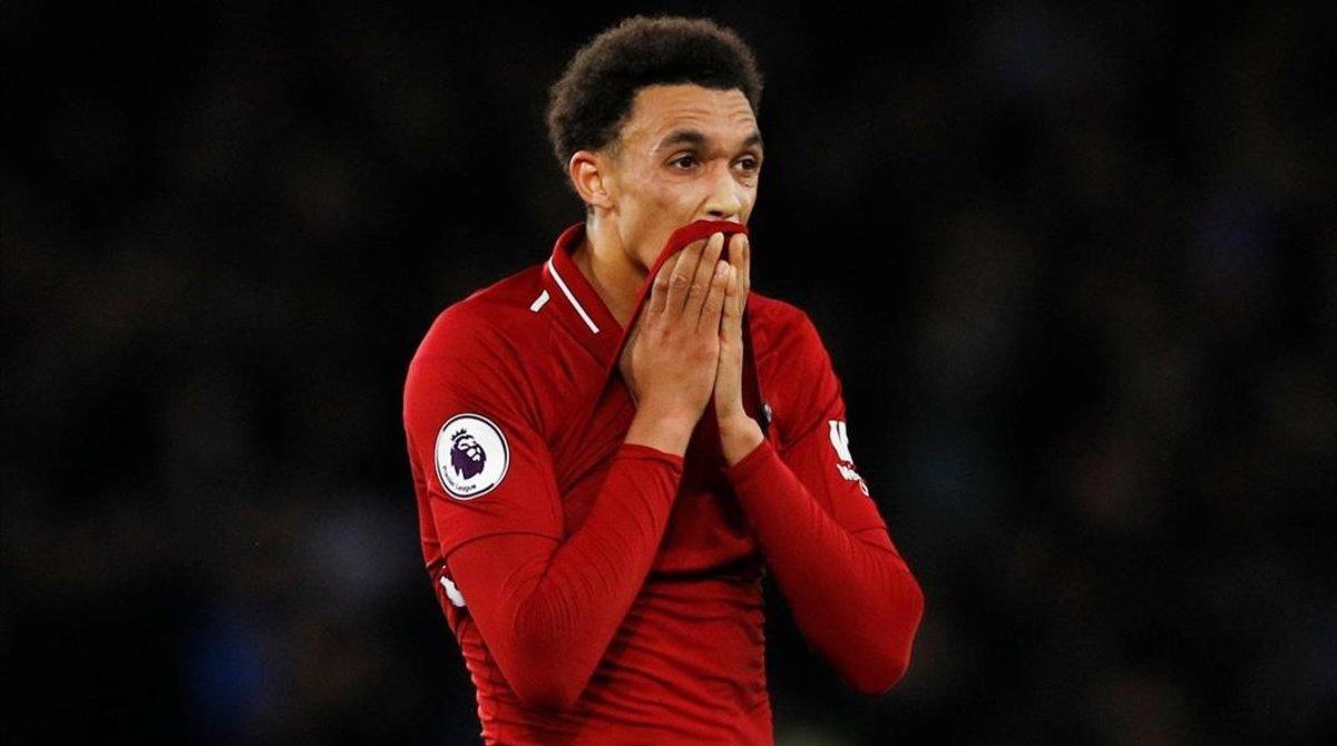 Trent Alexander-Arnold no oculta su decepción al final del Everton-Liverpool porel empate cosechado (0-0)