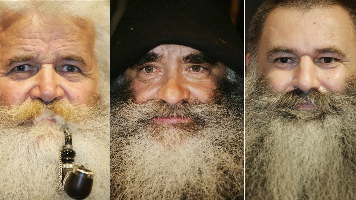 Tres participantes de un concurso de barbudos en Chur (Suiza).