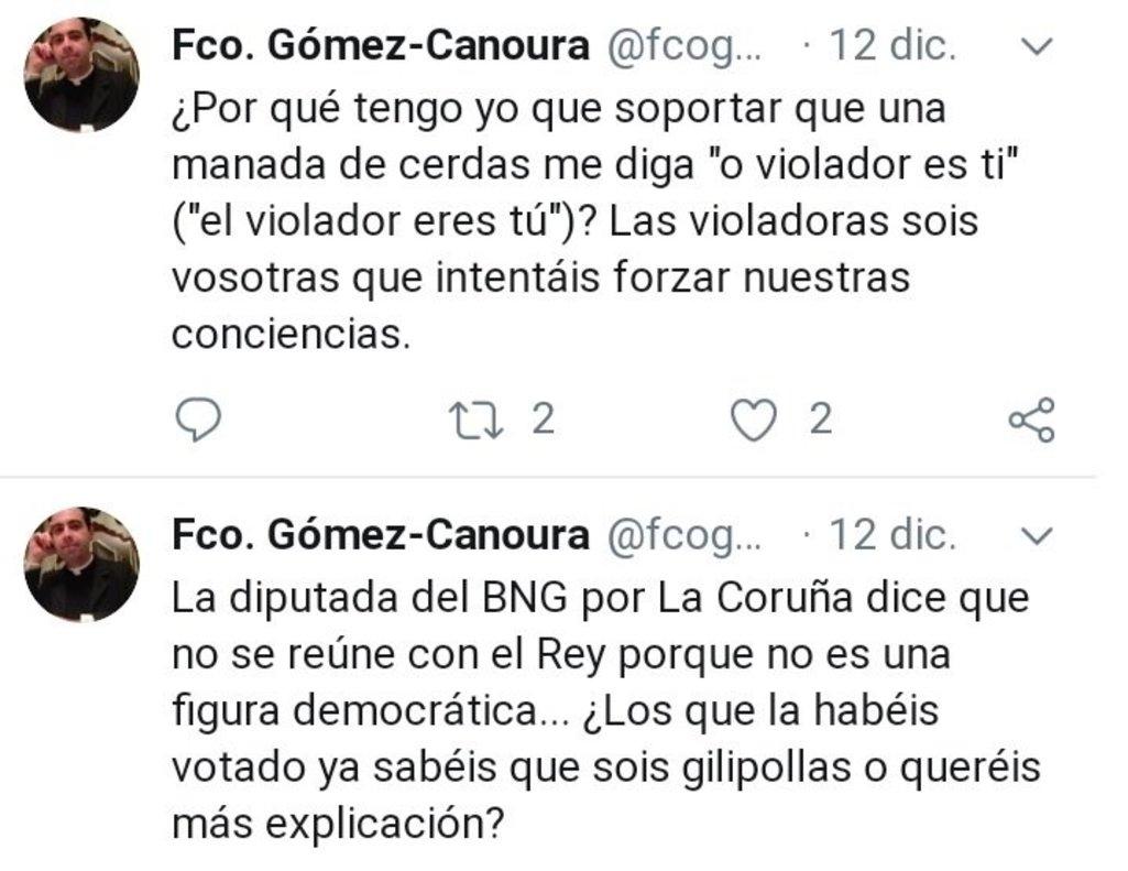 Tuits del párroco de Zas, Francisco Gómez-Canoura, en los que llama manada de cerdas a las feministas y gilipollas a los votantes del BNG .