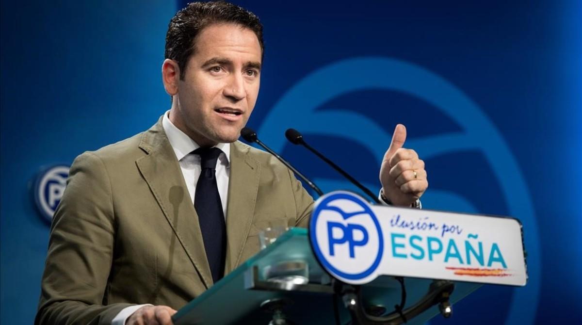 El secretario general del PP, Teodoro García Egea, en la sede del partido.