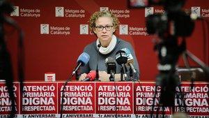 Elena Bartolozzi, secretaria del Sector Primària ICS de Metges de Catalunya, este lunes.