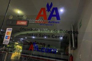 Oficinasde la aerolinea American Airlinesen Caracas, tras la decisión de suspender los vuelos.