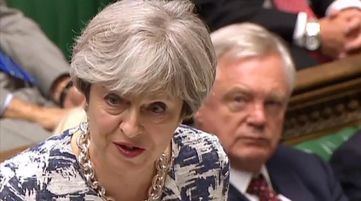 May durante la intervención en que ha explicado su oferta sobre los residentes europeos en el Reino Unido.