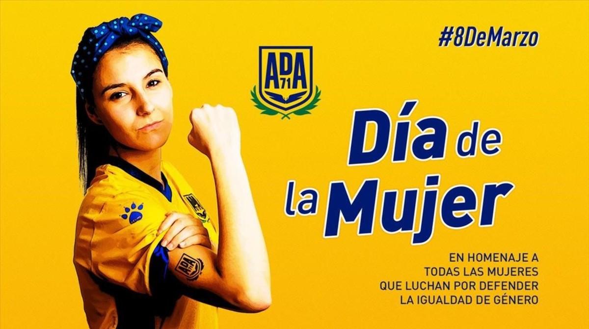 El Alcorcón reivindica el 8-M con la imagen de una de sus jugadoras, Natalia Orive.